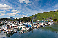Fishing boats in St Hermans harbor in downtown Kodiak, Kodiak Island, Alaska.