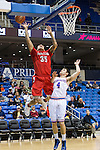 Seattle Redhawks guard Jarell Flora (35) and Texas-Arlington Mavericks guard Drew Charles (4) in action during the game between the Seattle Redhawks and the Texas Arlington Mavericks at the College Park Center arena in Arlington, Texas. Seattle defeats Arlington 61 to 44....