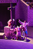 "Mayans Being Called to Christianity, Xcaret Performance, ""Mexico Espectacular"".  Playa del Carmen, Riviera Maya, Yucatan, Mexico."
