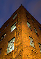 AVAILABLE FROM JEFF AS A FINE ART PRINT.<br /> <br /> AVAILABLE FROM PLAINPICTURE FOR COMMERCIAL AND EDITORIAL LICENSING.  Please go to www.plainpicture.com and search for image # p5690182.<br /> <br /> Upward View of Illuminated Windows in an Old Industrial Building, The Vinegar Hill Neighborhood of Brooklyn, New York City, New York State, USA