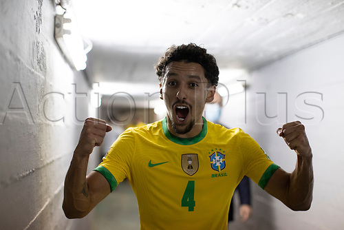 17th November 2020; Centenario Stadium, Montevideo, Uruguay; Fifa World Cup 2022 Qualifying football; Uruguay versus Brazil;  Marquinhos of Brazil celebrates after the match