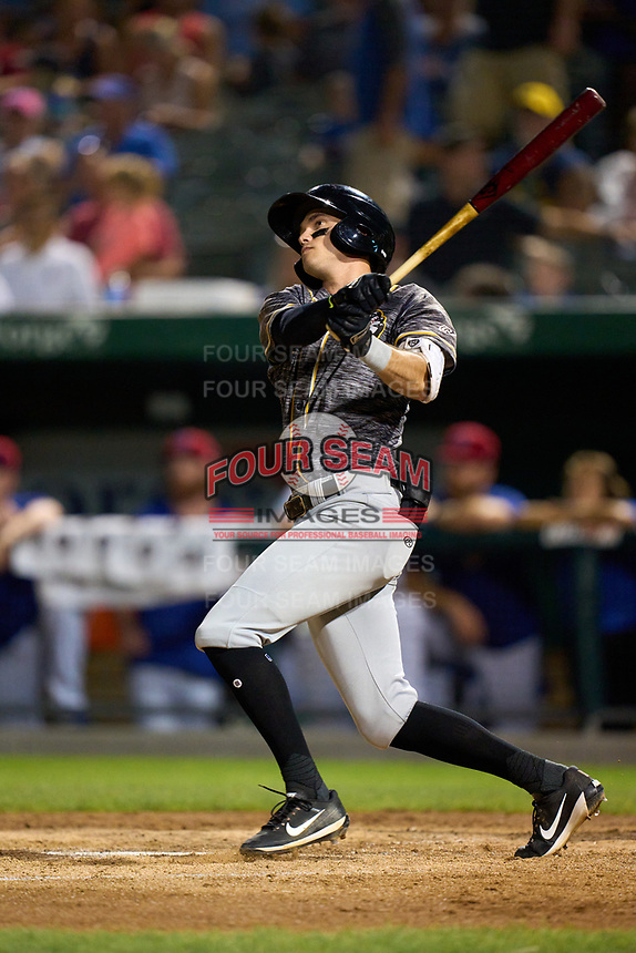 Quad Cities River Bandits Nick Loftin (2) bats during a game against the South Bend Cubs on August 20, 2021 at Four Winds Field in South Bend, Indiana.  (Mike Janes/Four Seam Images)