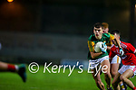 Thomas O'Donnell, Kerry in action against Sean Walsh, Cork during the Munster Minor Semi-Final between Kerry and Cork in Austin Stack Park on Tuesday evening.