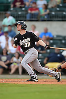 San Antonio Missions shortstop Brian Bixler (37) at bat during a game against the Arkansas Travelers on May 25, 2014 at Dickey-Stephens Park in Little Rock, Arkansas.  Arkansas defeated San Antonio 3-1.  (Mike Janes/Four Seam Images)