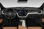 Stock photo of straight dashboard view of a 2018 Volvo XC60 Inscription T8 eAWD Plug-in Hybrid 5 Door SUV