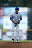Burlington Royals relief pitcher Marlin Willis (44) looks to his catcher for the sign against the Pulaski Yankees at Calfee Park on September 1, 2019 in Pulaski, Virginia. The Royals defeated the Yankees 5-4 in 17 innings. (Brian Westerholt/Four Seam Images)
