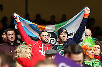 Pictured: A welsh and an Irish supporter holding a flag Saturday 14 March 2015<br />