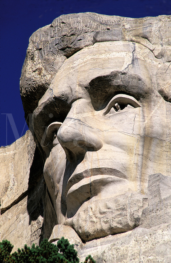 Mount Rushmore National Memorial, sculpture of U.S. President Abraham Lincoln by Gutzon Borglum.