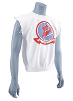 """BNPS.co.uk (01202) 558833. <br /> Pic: PropStore/BNPS<br /> <br /> Pictured: The cut-off volleyball shirt worn by Anthony Edwards as """"Goose"""" is expected to sell for more than £4,000. <br />  <br /> Costume props and behind-the-scenes photos from the classic Tom Cruise movie Top Gun are coming up for sale.<br /> <br /> The archive includes the white vest worn by Goose, the partner of Tom Cruise's character Pete 'Maverick' Mitchell, during the famous beach volleyball scene. <br /> <br /> There is also the flight suit worn by Maverick's Top Gun rival, Tom 'Iceman' Kazansky, played by Val Kilmer in the 1986 film."""