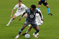 ST PAUL, MN - NOVEMBER 4: Romain Metanire #19 of Minnesota United FC controls the ball during a game between Chicago Fire and Minnesota United FC at Allianz Field on November 4, 2020 in St Paul, Minnesota.