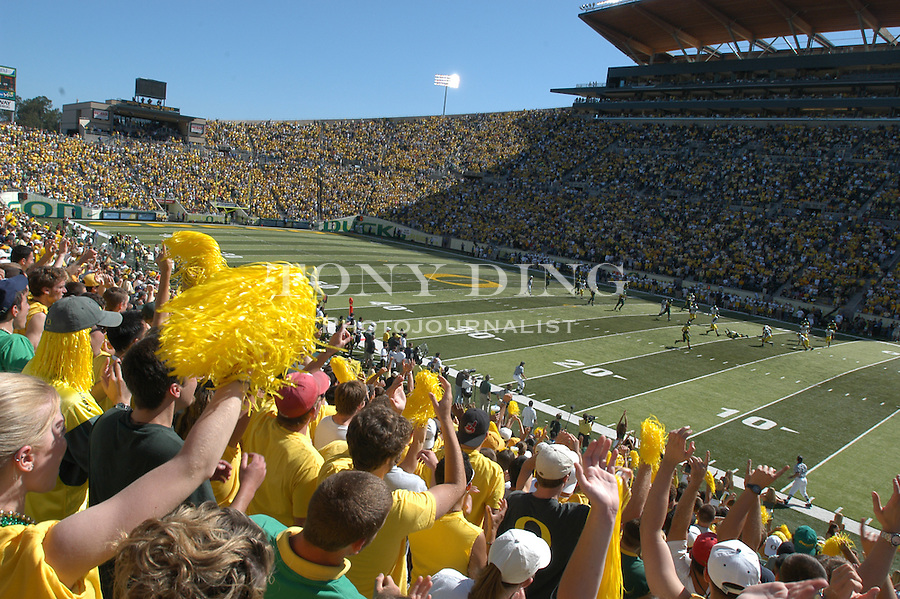 University of Oregon students cheer on their team and help create one of the loudest environments for college football, during the Oregon Duck's 31-27 upset of the Michigan Wolverines in Eugene, OR, on Saturday, September 20, 2003. The game set an all time attendance record of over 59,000 for NCAA football in the State of Oregon. (TONY DING/Daily)