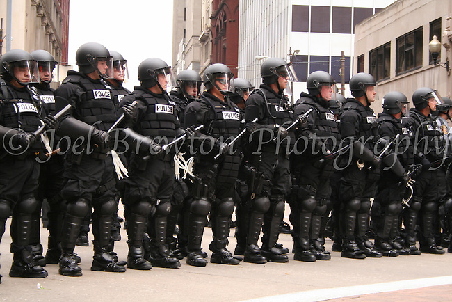 Members of the Pittsburgh Police and SWAT teams stand on guard and ready in the streets of Downtown, Pittsburgh during the G20 Summit, September 2009.