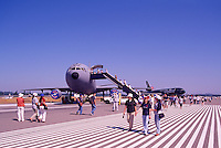 Military Aircraft on Static Display - at Abbotsford International Airshow, BC, British Columbia, Canada - McDonnell Douglas KC-10 Extender in foreground,