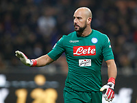 Calcio, Serie A: Inter - Napoli, Milano, stadio Giuseppe Meazza (San Siro), 11 marzo 2018.<br /> Napoli's goalkeeper Josè Manuel Reina reacts during the Italian Serie A football match between Inter Milan and Napoli at Giuseppe Meazza (San Siro) stadium, March 11, 2018.<br /> UPDATE IMAGES PRESS/Isabella Bonotto