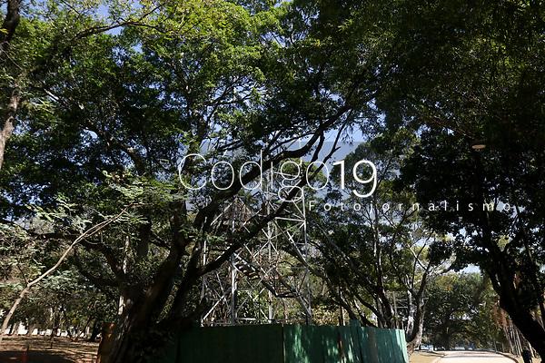 Campinas (SP), 05/08/2021 - Tirolesa-SP - Fase final da construção da tirolesa no parque do Taquaral em Campinas, interior de São Paulo, nesta quarta-feira (04).