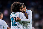 Marcelo Vieira Da Silva (l) of Real Madrid celebrates with Theo Hernandez during the La Liga 2017-18 match between Real Madrid and SD Eibar at Estadio Santiago Bernabeu on 22 October 2017 in Madrid, Spain. Photo by Diego Gonzalez / Power Sport Images