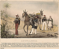 Spain. Carlist Wars. Artillery of Cabrera's army. Album of the Carlist troops of Aragon. Litography. Private Collection.