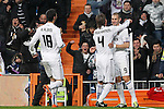 Real Madrid's Karim Benzema (r), Sergio Ramos (c) and Raul Albiol celebrate goal during La Liga match.March 3,2011. (ALTERPHOTOS/Acero)