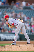 Syracuse Chiefs starting pitcher Austin Voth (31) looks to his catcher for the sign against the Charlotte Knights at BB&T BallPark on June 1, 2016 in Charlotte, North Carolina.  The Knights defeated the Chiefs 5-3.  (Brian Westerholt/Four Seam Images)