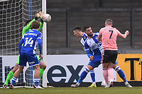 9th January 2021; Memorial Stadium, Bristol, England; English FA Cup Football, Bristol Rovers versus Sheffield United; Joe Day of Bristol Rovers saves the shot from John Lundstram of Sheffield United