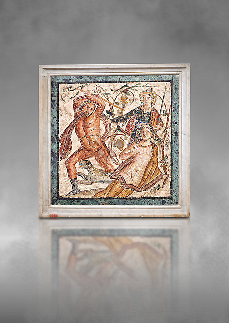 Roman Mosaic of  Lycurgus and Ambrosia the presence of Dionysus from Herculaneum, Naples Archaeological Museum, Italy