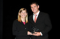 DC United defender Devon McTavish receiving The US Soccer Foundation/MLS W.O.R.K.S. Humanitarian of the Year.    At the 6th Annual DC United Awards Presentation ,at the Atlas Performing Arts Center in Washington DC ,Wednesday October 27, 2009.
