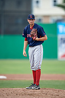 Lowell Spinners starting pitcher Thad Ward (41) looks in for the sign during a game against the Batavia Muckdogs on July 15, 2018 at Dwyer Stadium in Batavia, New York.  Lowell defeated Batavia 6-2.  (Mike Janes/Four Seam Images)