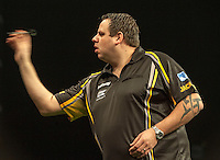 09.04.2015. Sheffield, England. Betway Premier League Darts. Matchday 10.  Adrian Lewis [ENG] in action during his game with James Wade [ENG].