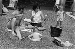 Southend on Sea Essex. Family outing with children to the seaside 1970.