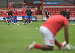 Crewe Alexandra 1 Aldershot 2, 09/09/2009. Gresty Road, League 2. Players of Aldershot Town warming up prior to their League 2 fixture against Crewe Alexandra at the Alexandra Stadium. The visitors won by 2 goals to 1. Photo by Colin McPherson.