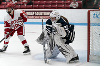 BOSTON, MA - FEBRUARY 16: Ava Boutilier #35 of University of New Hampshire during a game between University of New Hampshire and Boston University at Walter Brown Arena on February 16, 2020 in Boston, Massachusetts.