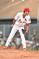 Johnson City Cardinals starting pitcher Dailyn Martinez #19 looks in for the signals during a game against the Bristol Pirates at Howard Johnson Field July 20, 2014 in Johnson City, Tennessee. The Pirates defeated the Cardinals 4-3. (Tony Farlow/Four Seam Images)