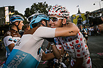Romain Bardet (FRA) AG2R La Mondiale wins the mountains Polka Dot Jersey hugs his team mates at the end of Stage 21 of the 2019 Tour de France running 128km from Rambouillet to Paris Champs-Elysees, France. 28th July 2019.<br /> Picture: ASO/Pauline Ballet   Cyclefile<br /> All photos usage must carry mandatory copyright credit (© Cyclefile   ASO/Pauline Ballet)