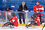 Sochi, RUSSIA - Mar 13 2014 - Assistant Coach Curtis Hunt as Canada takes on USA in Sledge Hockey Semi-Final at the 2014 Paralympic Winter Games in Sochi, Russia.  (Photo: Matthew Murnaghan/Canadian Paralympic Committee)