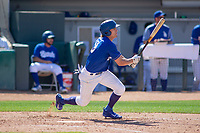 Rancho Cucamonga Quakes Donovan Casey (19) at bat against the Lake Elsinore Storm at LoanMart Field on May 28, 2018 in Rancho Cucamonga, California. The Storm defeated the Quakes 8-5.  (Donn Parris/Four Seam Images)