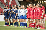 The American team and tne Canadian team listen to national anthems before the match United States vs Canada, the Cup Final of the HSBC Singapore Rugby Sevens as part of the World Rugby HSBC World Rugby Sevens Series 2016-17 at the National Stadium on 16 April 2017 in Singapore. Photo by Victor Fraile / Power Sport Images