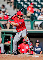 25 February 2019: Washington Nationals catcher Taylor Gushue at bat during a pre-season Spring Training game against the Atlanta Braves at Champion Stadium in the ESPN Wide World of Sports Complex in Kissimmee, Florida. The Braves defeated the Nationals 9-4 in Grapefruit League play in what will be the Braves' last season at the Disney / ESPN Wide World of Sports complex. Mandatory Credit: Ed Wolfstein Photo *** RAW (NEF) Image File Available ***