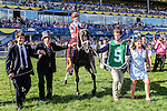 TORONTO, ON - JULY 03:   Sir Dudley Digges, #5, with jockey  Julien Leparoux   makes his way to the winner's circle after running  to victory at Queen's Plate Day at Woodbine Race Course on July 3, 2016 in Toronto, Ontario. (Photo by Victor Biro/Eclipse Sportswire/Getty Images)