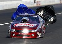 Nov 9, 2013; Pomona, CA, USA; NHRA pro stock driver Greg Anderson during qualifying for the Auto Club Finals at Auto Club Raceway at Pomona. Mandatory Credit: Mark J. Rebilas-