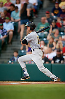 Trenton Thunder left fielder Ben Ruta (16) follows through on a swing during a game against the Richmond Flying Squirrels on May 11, 2018 at The Diamond in Richmond, Virginia.  Richmond defeated Trenton 6-1.  (Mike Janes/Four Seam Images)