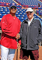 18 March 2007: Washington Nationals Manager Manny Acta shakes hands with friend Harold Stupp prior to a game against the Florida Marlins at Space Coast Stadium in Viera, Florida...Mandatory Photo Credit: Ed Wolfstein Photo