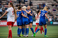 Seattle, WA - Wednesday, June 28, 2017: Seattle Reign FC celebrate during a regular season National Women's Soccer League (NWSL) match between the Seattle Reign FC and the Chicago Red Stars at Memorial Stadium.