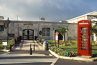 Bermuda, The West End, Sandy's Parish, Red telephone booth outside The Cooperage at the Royal Naval Dockyard at the end of Ireland Island in Sandy's Parish in Bermuda.