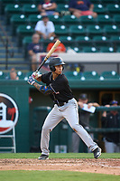 Jupiter Hammerheads Marcus Chiu (14) bats during a game against the Lakeland Flying Tigers on July 30, 2021 at Joker Marchant Stadium in Lakeland, Florida.  (Mike Janes/Four Seam Images)