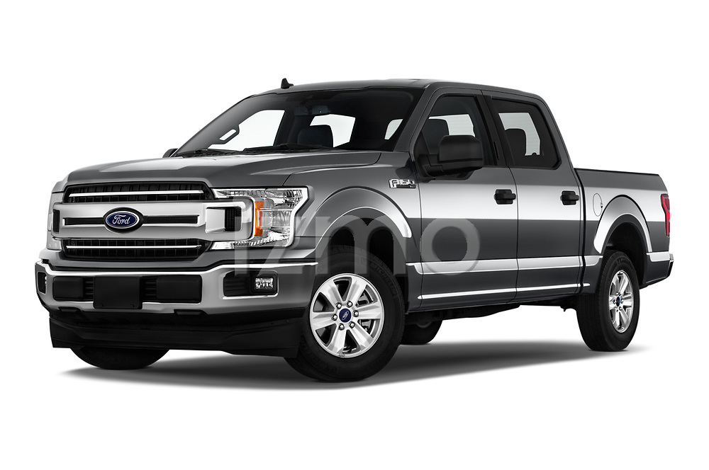 Stock pictures of low aggressive front three quarter view of a 2020 Ford F-150 XLT 4 Door Pick Up