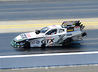 Apr. 14, 2012; Concord, NC, USA: NHRA funny car driver Mike Neff during qualifying for the Four Wide Nationals at zMax Dragway. Mandatory Credit: Mark J. Rebilas-
