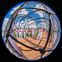 22 February 2019: Member of the Washington Nationals gather in the batting cage during a Spring Training workout at the Ballpark of the Palm Beaches in West Palm Beach, Florida. Mandatory Credit: Ed Wolfstein Photo *** RAW (NEF) Image File Available ***