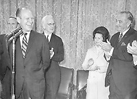 President and Mrs. Lyndon B. Johnson, Senate Majority Leader Mike Mansfield (MT), Speaker of the House John McCormack and others salute House Minority Leader Gerald R. Ford. 1967.