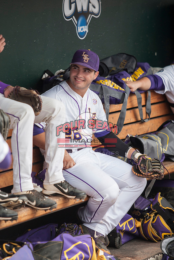 LSU Tigers first baseman Chris Chinea (26) in the dugout before the NCAA College World Series game against the TCU Horned Frogs on June 14, 2015 at TD Ameritrade Park in Omaha, Nebraska. TCU defeated LSU 10-3. (Andrew Woolley/Four Seam Images)