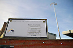 Notts County 150th Anniversary, 18/11/2012. Meadow Lane. A sign at Meadow Lane, home of Notts County FC advertising a forthcoming fixture before a special Legends Day event marking the club's 150th anniversary. The day-long event featured autograph signing by past and present players, a game between two teams of former players and a screening of a film entitled 'Notts County - the Movie' on a giant inflatable screen. The club were founder members of the Football League in England and call themselves 'the world's oldest Football League club'. Photo by Colin McPherson.